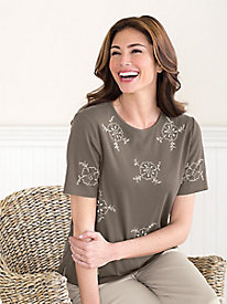 Floral Swirl Embroidered Tee