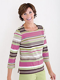 Face&#45flattering Striped Tee