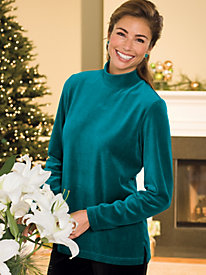Velour Zip-Back Mockneck Tunic