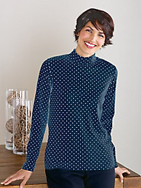 Long-sleeve Dot Mock-Neck Top