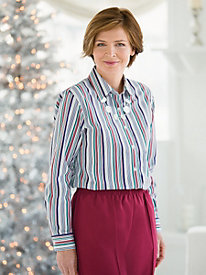 Wrinkle-Free Candy-Stripe Shirt by Foxcroft&#174
