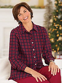 Holiday Crinkle Plaid Shirt