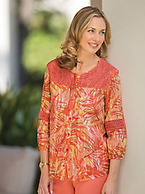 Tropical Print Shirt by Alfred Dunner