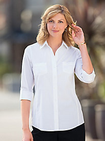No-Iron Roll-Tab Shirt by Foxcroft
