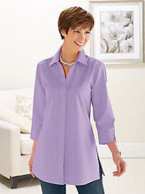 Button-Back Shirt by Foxcroft