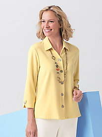Look-of-Linen Y-Neck Shirt by Koret®