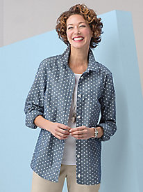Dot Print Chambray Shirt