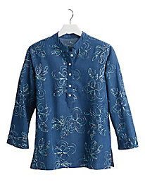 Embroidered Chambray Shirt by Koret