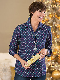 Multi-Dot Wrinkle-Free Shirt by Foxcroft�