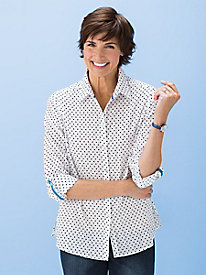 Dot-On-Stripe Shirt by Foxcroft®