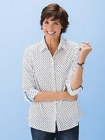 Dot-On-Stripe Shirt by Foxcroft®