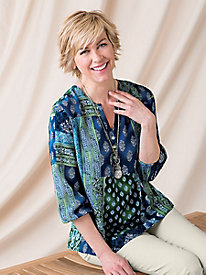Patchwork Pop-Over Blouse by Koret�