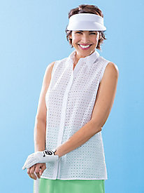 Sleeveless Eyelet Shirt by Foxcroft®