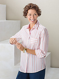3/4-Sleeve Striped Shirt by Foxcroft®