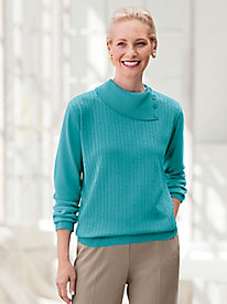 Spindrift Mini-Cable Split-Neck Sweater