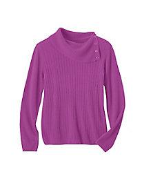 Spindrift Mini-Cable Split-Neck Sweater