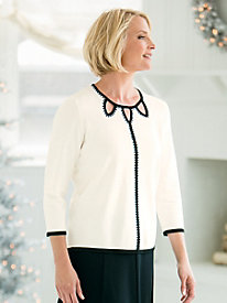 Winter White Sequin-Trim Sweater