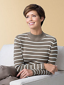 Striped Ribbed Mockneck Sweater