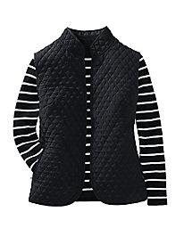 Striped Ribbed Mockneck Sweater