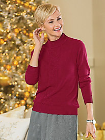 Spindrift Center Cable Mock&#45Neck Sweater