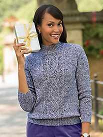 Marled Textured Mockneck Sweater