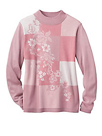 Floral Jacquard Sweater by Alfred Dunner