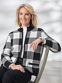 Buffalo Check Zip-Front Sweater