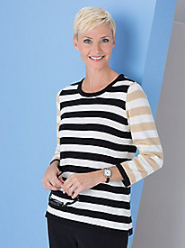 Stripe-Mix Sweater by Koret