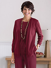 2-in-1 Open Front Sweater Set by Alfred Dunner