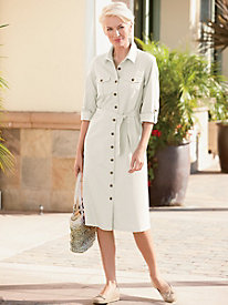 Cotton Sateen Shirtdress