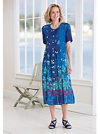 Garden Print Pleat Dress by La Cera™