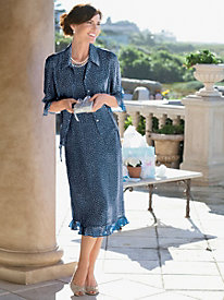 Dotted Georgette Jacket Dress