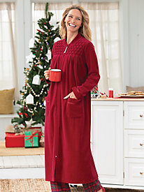 Velour Smocked Robe