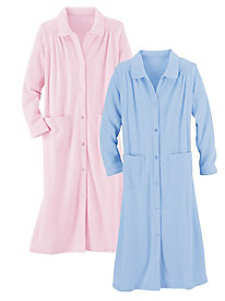 Luxe Terry Button&#45Front Robe