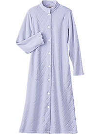 Embossed Plush Button Front Robe