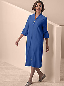 Bell-sleeve Velour Short Robe