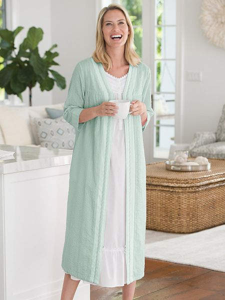 real deal new appearance limited guantity Seersucker Zip-Front Robe | Women's Sleepwear | Appleseeds
