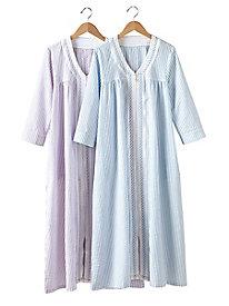 Seersucker Zip-Front Robe