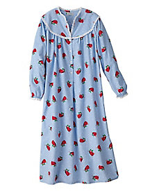 Red Doves Flannel Nightgown by Eileen West