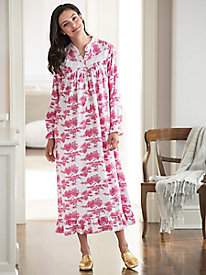 Toile-Print Flannel Nightgown by Eileen West