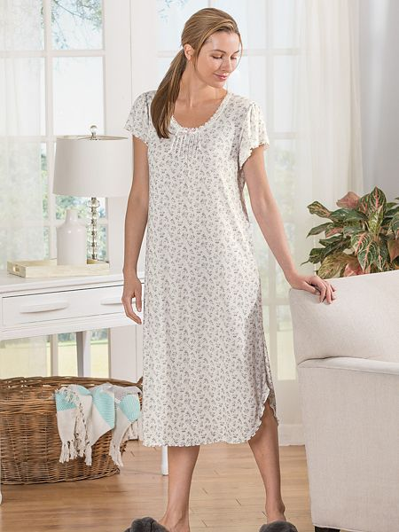 aba376fb0 Miss Elaine Floral Pointelle Knit Nightgown