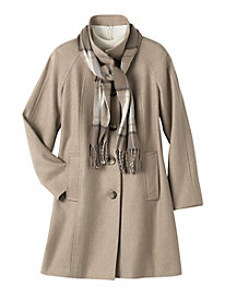 London Fog� Wool-Blend Coat with Scarf