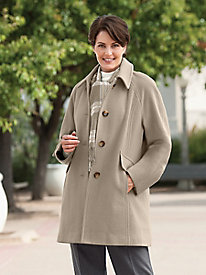 London Fog Silky Balmacaan & Wool Scarf Coat