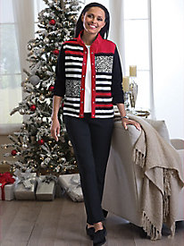 Stripe Mix Knit Jacket