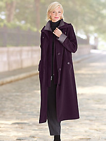 Long Silk-Look Raincoat