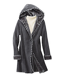Hooded Faux-Shearling Coat