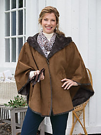 Faux-Shearling Hooded Cape