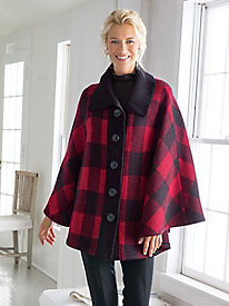 Boiled Wool Buffalo Check Cape