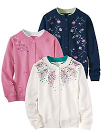 Embroidered Fleece Cardigan