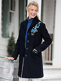 Embroidered Boiled-Wool Coat